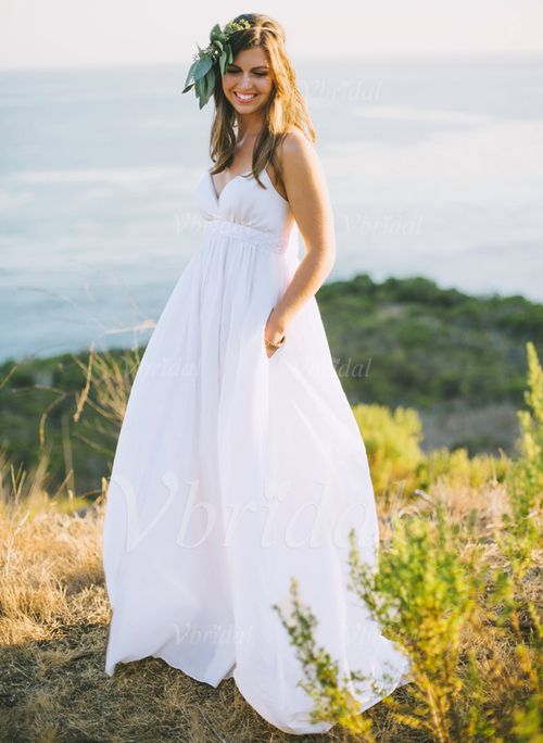 Wedding Dresses - $127.68 - Empire Sweetheart Sweep Train Chiffon Wedding Dress With Beading (0025060287)