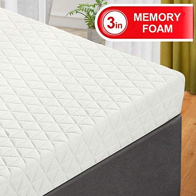 Emonia King Mattress Topper 3 Inch Memory Foam Bed Mattress Pad With Bamboo Mattress Cover Removable Hypoallergeni Bamboo Mattress Foam Mattress Bed Mattress