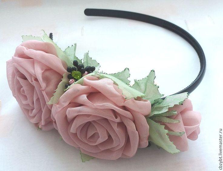 Купить Ободок с персиковыми розами - бежевый, Персиковый цвет, ободок для волос, ободок с цветком