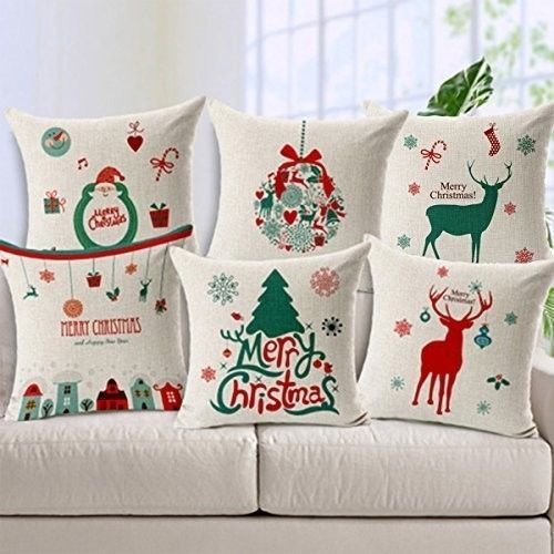 """Christmas Cushion Covers 18"""" Decorative Cotton Blend Xmas Throw Cases Set Of 6 #easy_shopping08"""