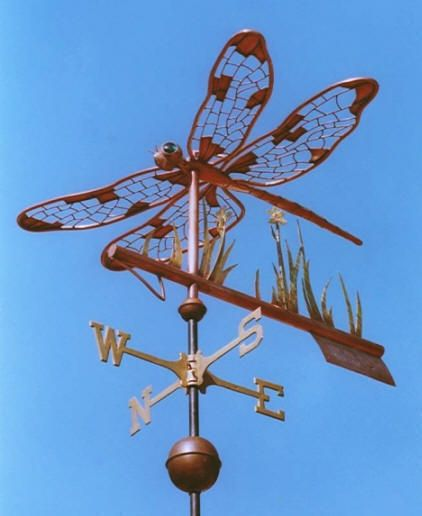 Dragonfly Weather Vane by West Coast Weather Vanes.  The Dragonfly weather vane consists of an all copper dragonfly with brass reeds, a copper marsh flower and arrow tip and fletching.