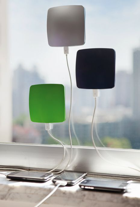 """Window Cling Solar Charger for traveling. Use solar power to recharge your smartphone or tablet, Stick to a window in the house or the car, Takes 13 hours to fully charge, Charges phone over 10 hours, Comes with 3.3' USB cable, Condition: new, Product dimensions: 4.5""""x4.5""""x0.6"""" Weight: 10oz."""