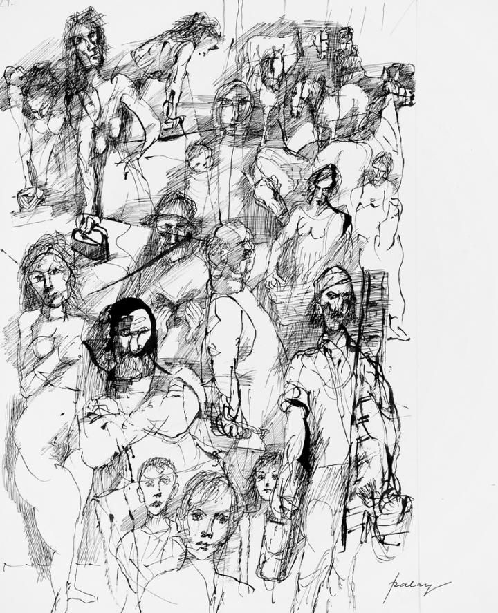 Szalay, Lajos, Illustration for Tolstoy (Crowd), 1980, India ink , Paper
