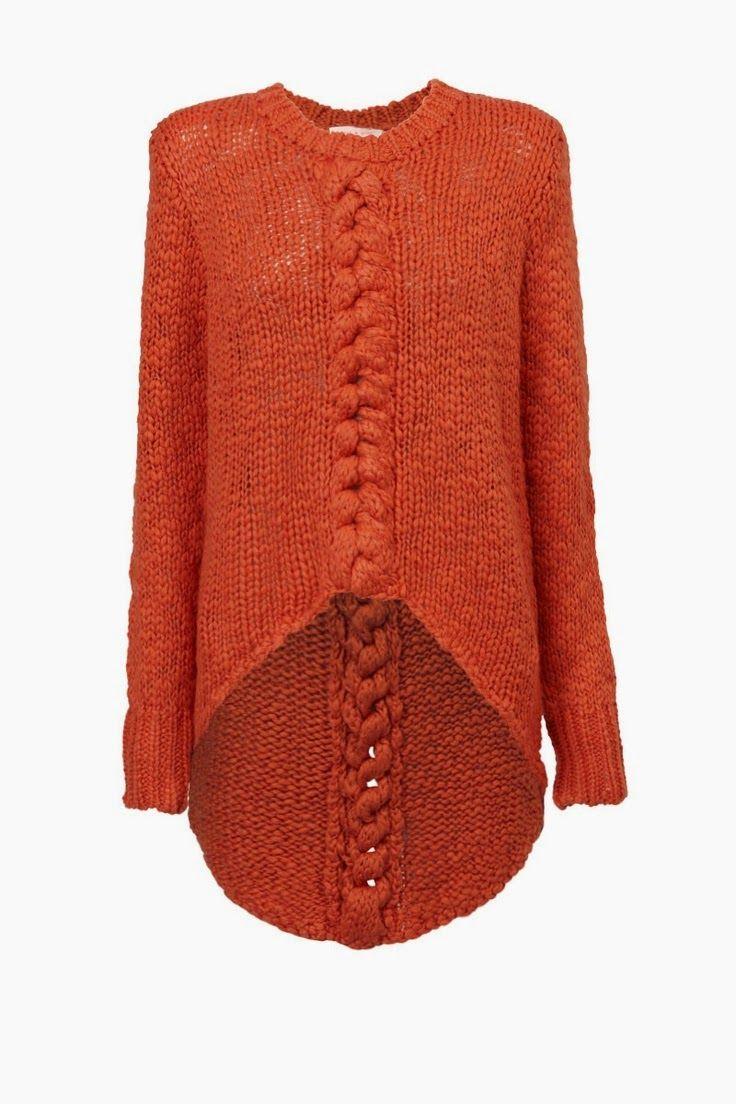 Olá amigas!  Confiram que bela blusa de tricô  na cor laranja!!!  Achei linda, super fashion!!!  Beijos, Cá.