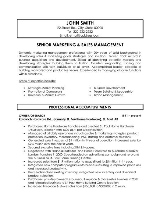 Resume Sample  Senior Sales Marketing Executive Resume Resume