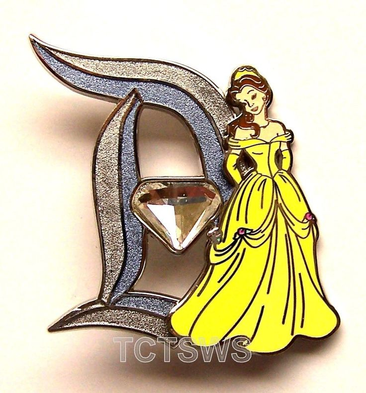 Disney 3D Pin 60th Anniversary Diamond Letter D BELLE 9 of 12 Pin LE of 3000 #Disney
