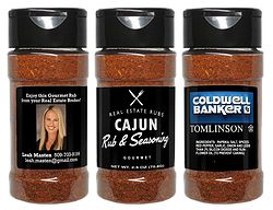Cajun Rub & Seasoning  This Cajun Rub is the perfect vehicle for a long lasting and valued brand message. Get marketing dollar longevity while offering your sphere of influence something they will love and use often.   We customize your label. Just send us your professional image, logo & contact info. It's that easy!