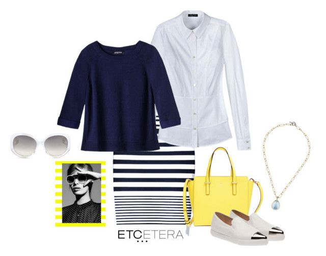 """""""Etcetera: New Nautical"""" by etcetera-nyc ❤ liked on Polyvore featuring Etcetera, Kate Spade, Miu Miu, Christian Dior, Nautical, casuallifestyle, spring2016, etceteracollection and etceteranyc"""