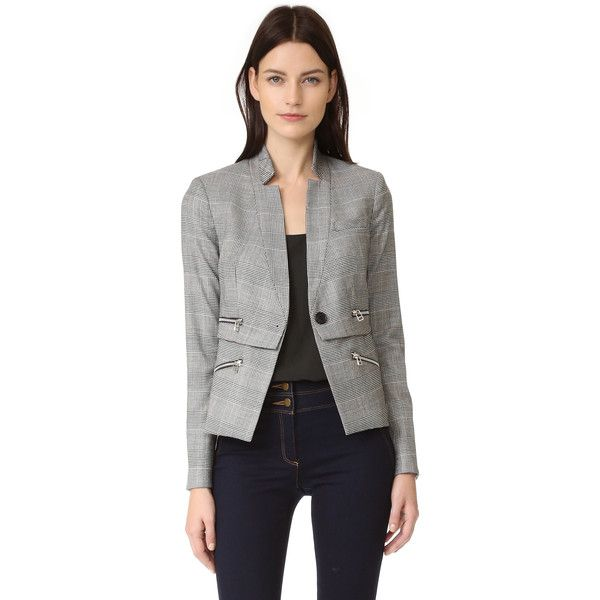 Veronica Beard Paloma Zipper Jacket ($695) ❤ liked on Polyvore featuring outerwear, jackets, veronica beard jacket, veronica beard, zip jacket and zipper jacket