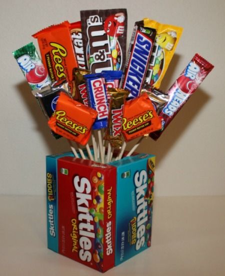 Candy Bouquet, kind of cool for Tom for while him and the guys are getting ready.