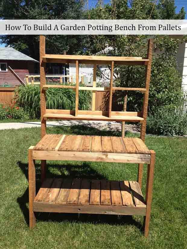 How To Build A Garden Potting Bench From Pallets