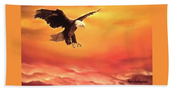 Bath Towel,  home,accessories,bathroom,unique,fancy,cool,trendy,artistic,beautiful,awesome,modern,fashionable,for,sale,decor,unusual,design,items,products,ideas,orange,eagle,wildlife,sky,sunset