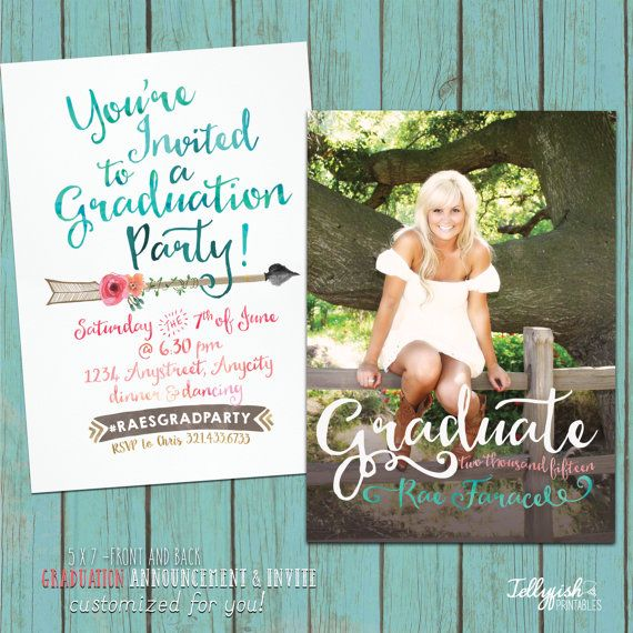 2015 Modern Calligraphy Boho Senior Graduation Announcement & Invitation  - Customized for you! Coral, Aqua, 5x7 Both Sides.