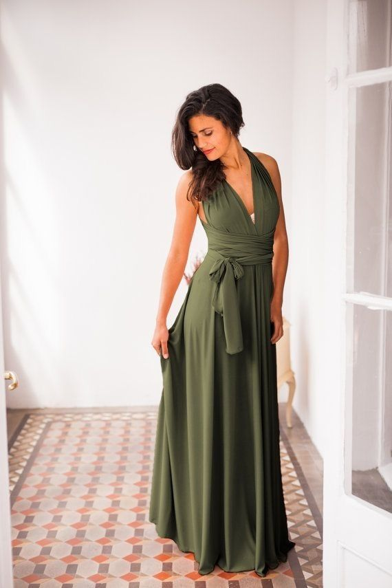 Hot Sell Olive Green Long Prom Dress Bridesmaid Dresses Formal