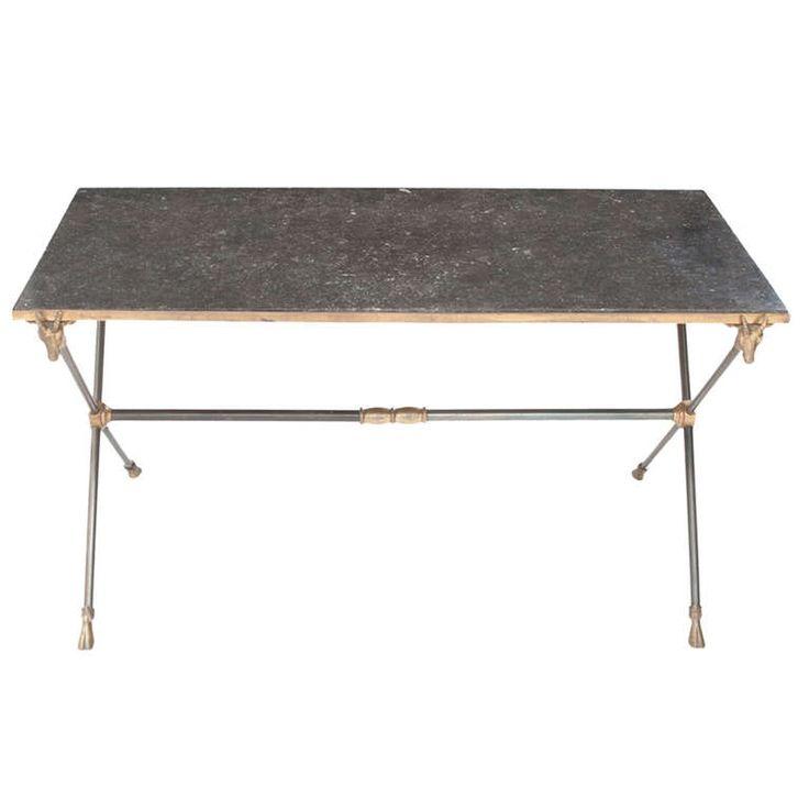English 1920s Marble & Metal X Base Coffee Table