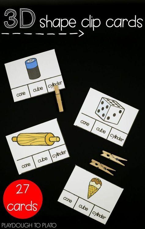 Fun 3D shape clip cards! Great math center for kindergarten, first grade or second grade.