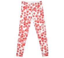 red distressed spot pattern leggings