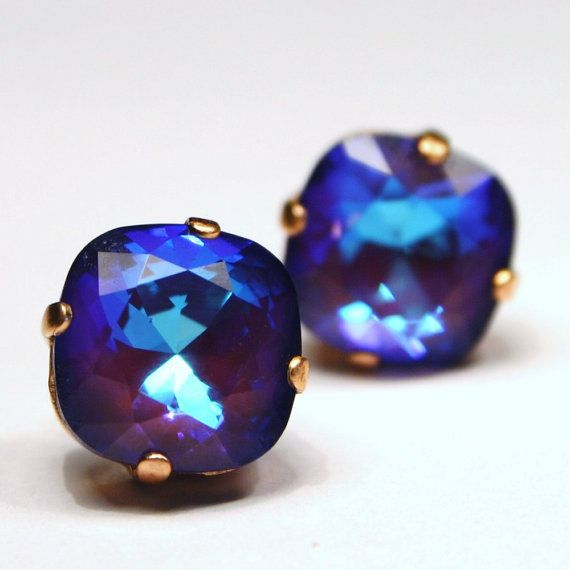 Bright Purple Crystal Stud Earrings Classic by walkonthemoon, $22.00