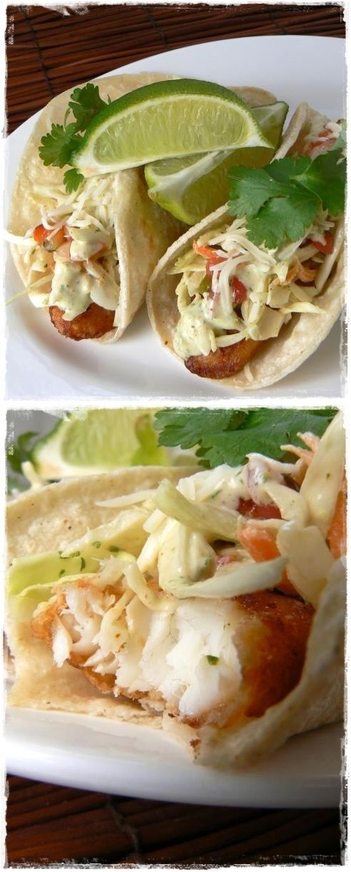 Beer battered fish tacos with baja sauce recipe food for Recipe for fish taco sauce