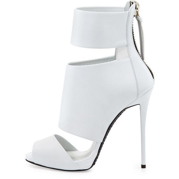 Giuseppe Zanotti High-Heel Banded Peep-Toe Cage Bootie ($492) ❤ liked on Polyvore featuring shoes, heels, white, peep-toe shoes, high heel platform shoes, high heel peep toe shoes, white shoes and tassel shoes #giuseppezanottiheelspeeptoe
