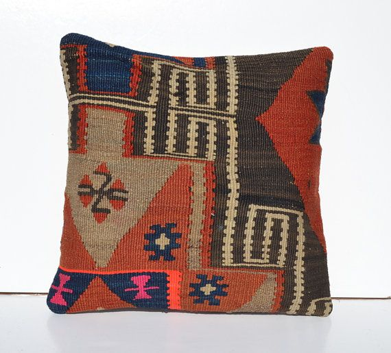 Kilim Pillow Covers Colorful Ethnic Euro Shams by PillowsHistoric