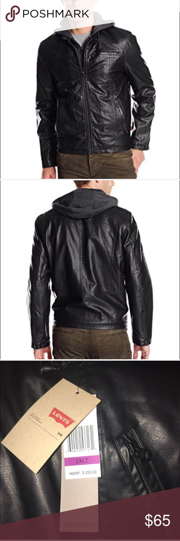 Men's Big & Tall Leather Racer Jacket 2X Tall New with tags Size 2XT Features 100% Other Fibers Imported Polyester lining Hand Wash Zip-front jacket featuring jersey bib with hood Zippered chest and hand pockets Fleece lining Levi's Jackets & Coats Bomber & Varsity