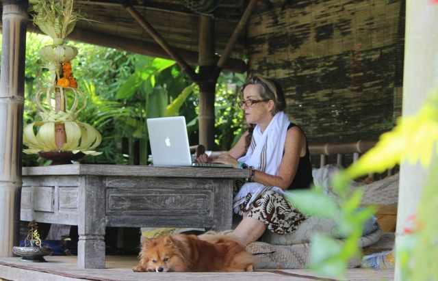 One of my favourite places to set up the laptop at Sharing Bali. The bale overlooking the rice paddies. Hard to beat! www.sharingbali.com