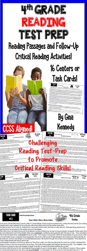 critical thinking reading passages for 4th grade Challenging 4th grade reading test-prep task cards with fiction, non-fiction and paired text passages with follow-up reading response questions and activities i have.