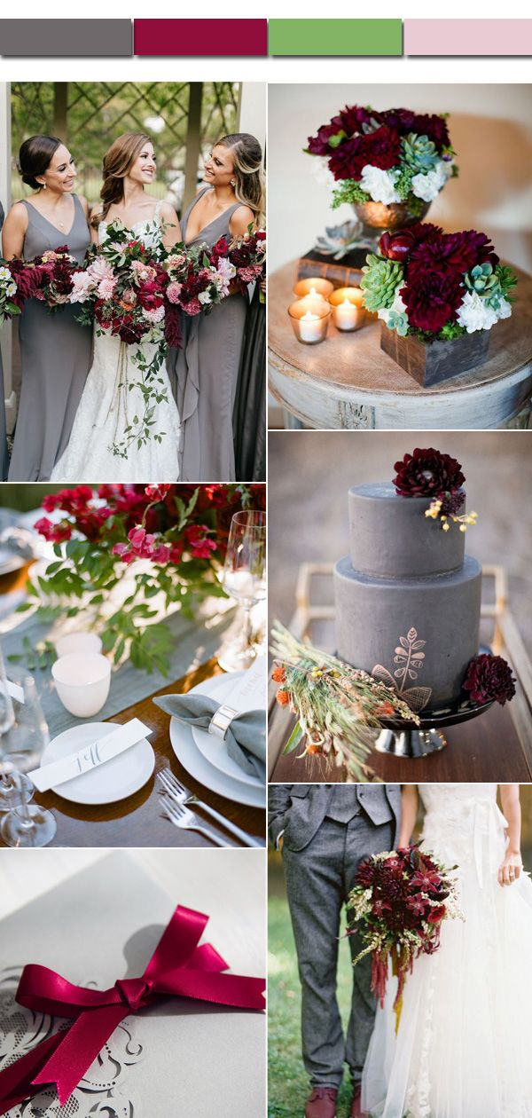 2017 Fall and Autumn Gray and Marsala Wedding Color Ideas for Bridal Inspiration