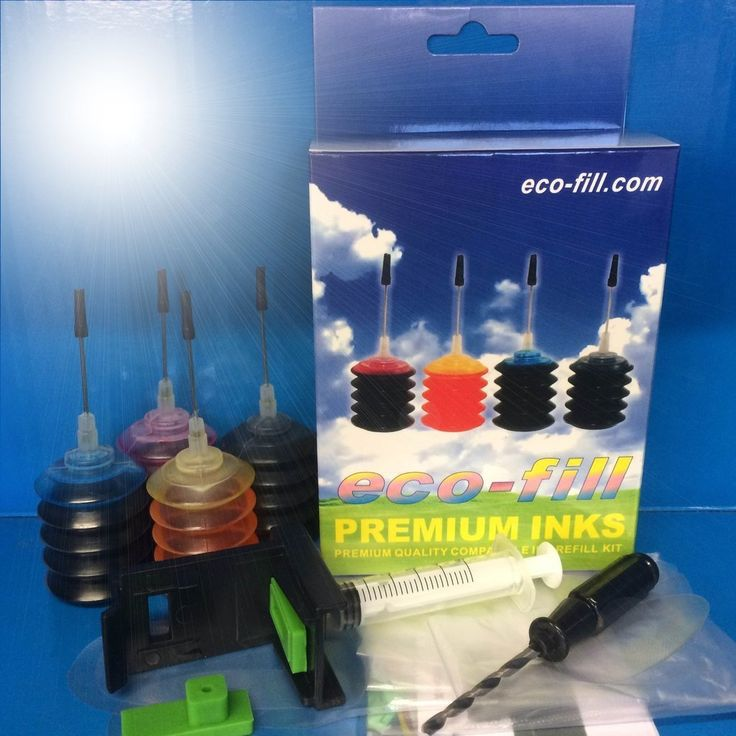 Ecofill HP 62 Professional Refill Kit Black & Colour.  HP Envy 5540, 5640, 5642, 5644, HP Officejet 5740, 5742, 5744, 5746 Printers.