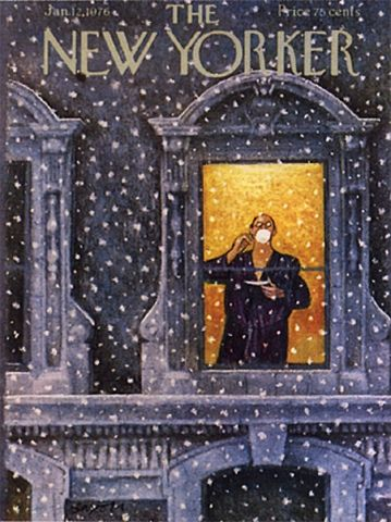 cover of The New Yorker magazine January 12, 1976 ... depicts man standing in window drinking cup of tea watching snow fall