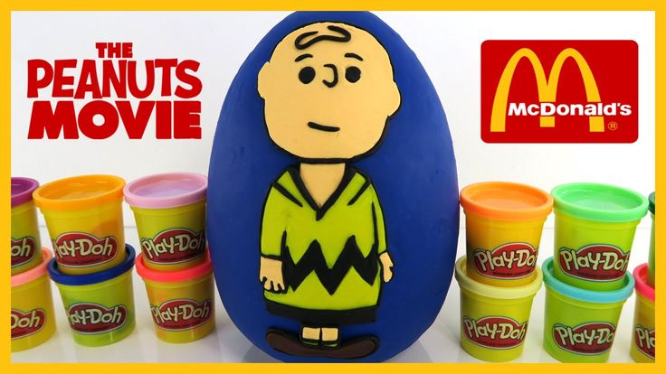The Toy Bunker presents Giant Charlie Brown Play Doh Surprise Egg with The Peanuts Movie McDonalds Happy Meal Toys. This is part 2 of our Play-Doh Surprise Eggs featuring the 2015 McDonalds Happy Meal Toys from The Peanuts Movie. If you missed our first video check it out here: https://youtu.be/VTkCvXszJgM This set has had a LOT of cool toys in it! One of my favorites had to be the spinning Snoopy! He is held in place with a magnet which allows him to float in the air. We have not seen this…