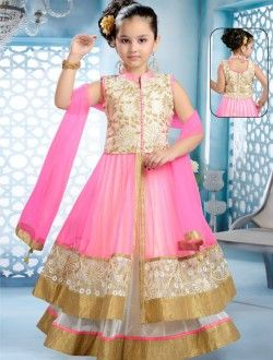 Party Wear Pink Net Embroidered Work Kids Wear Anarkali Suit