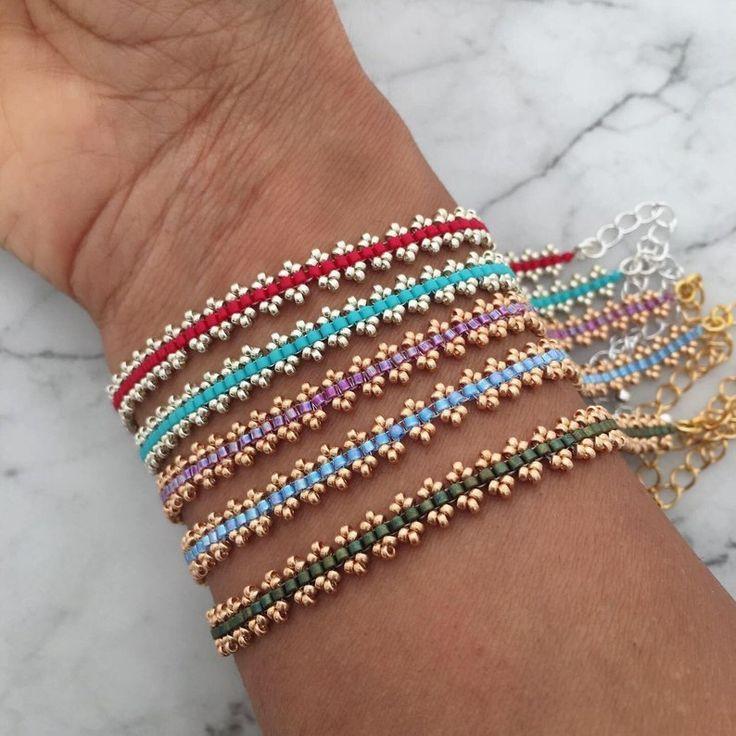 Handmade boho glass seed bead bracelets, delicate stacking bracelets – #Bead #Bo…