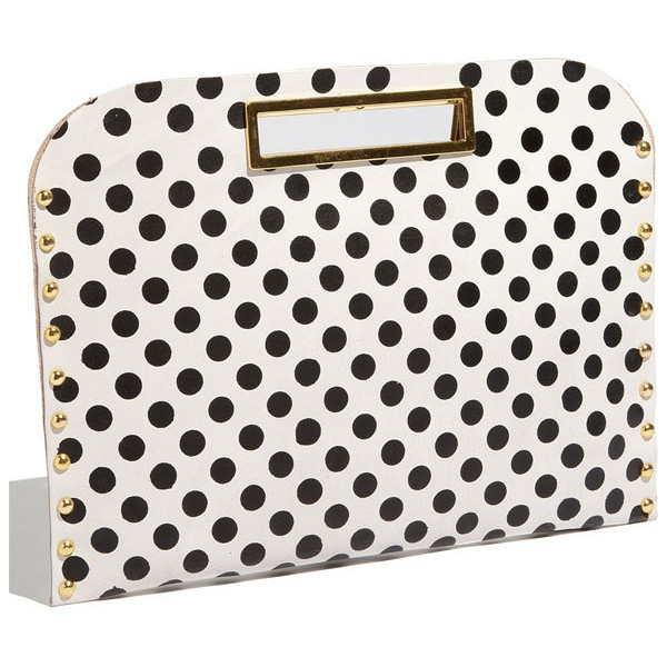 Muze Oversized Polka Dot Clutch Yellow/ Black One Size (3,040 PHP) found on Polyvore