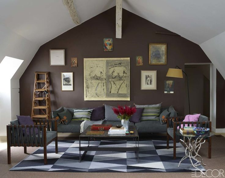 """I like the color of the accent wall - cozy without closing in the space -  wall is painted in Farrow & Ball's """"London Clay."""""""
