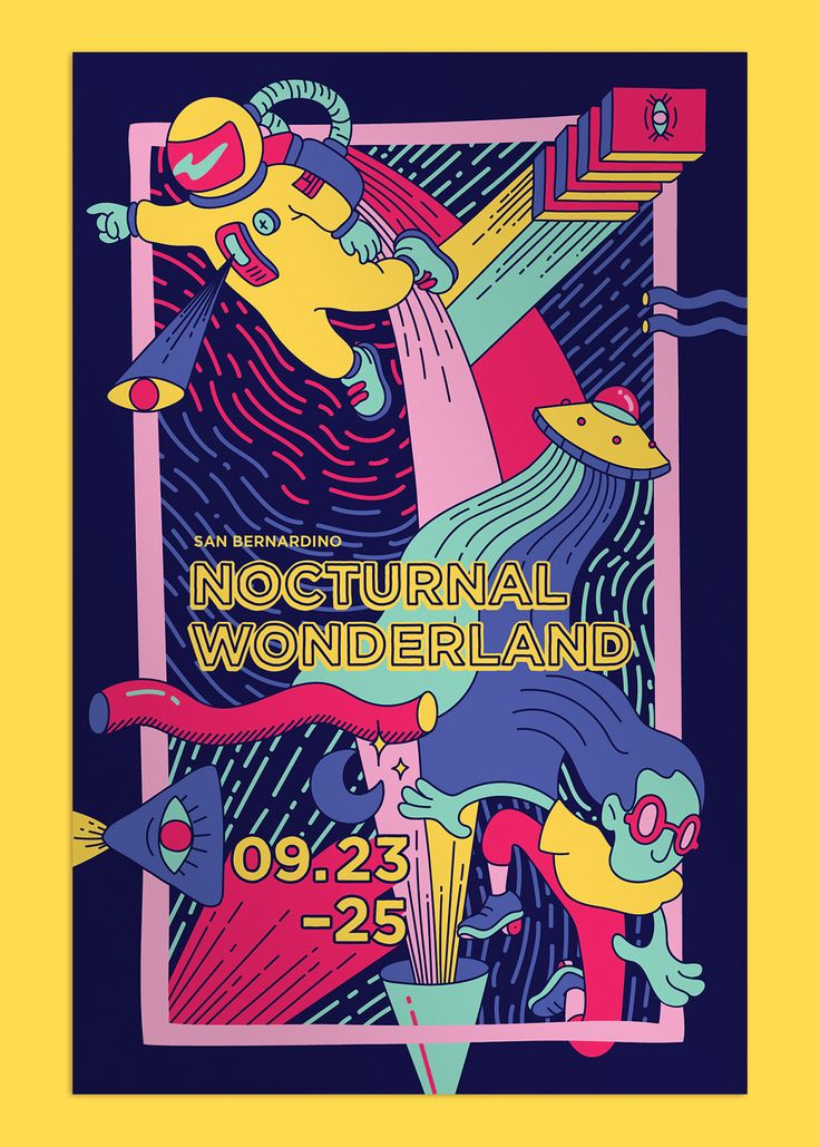 This is a brand identity for the music festival, Nocturnal Wonderland, using…