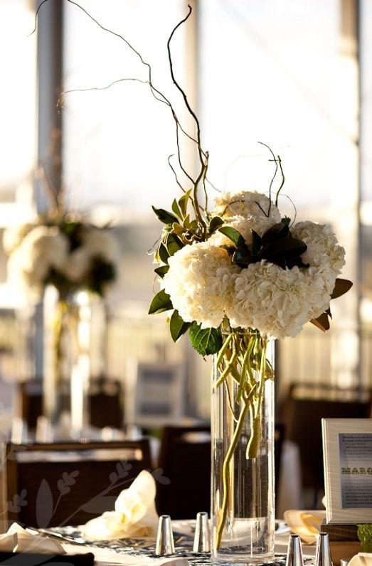 sticks and hydrangea wedding centerpieces | Wedding! / Tall centerpiece - white hydrangeas, no sticks