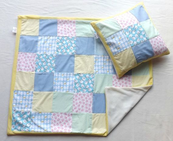 Spring Fling Patchwork Blanket and Cushion set by LittleTsTextiles