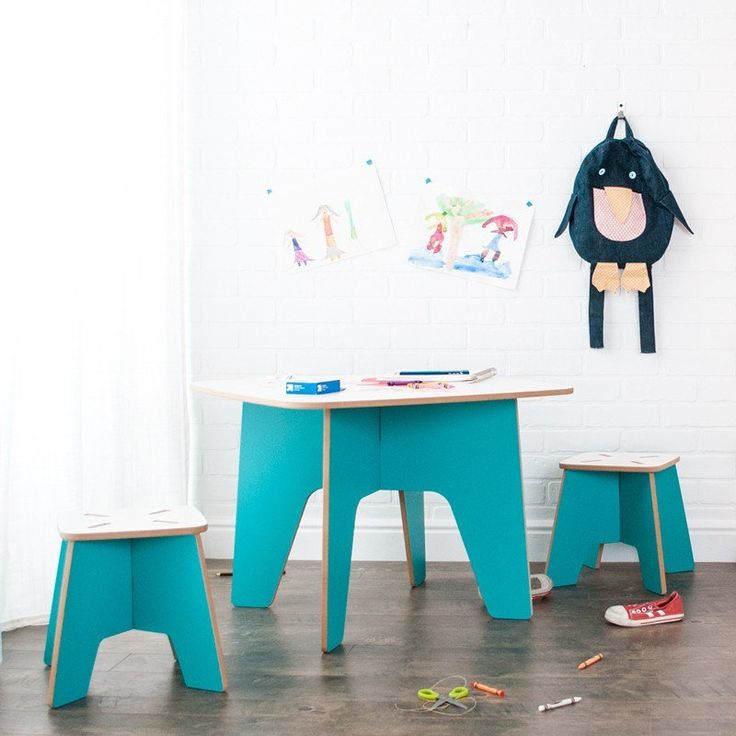 Great Aqua Study Table For Kids, With Stools Part 31