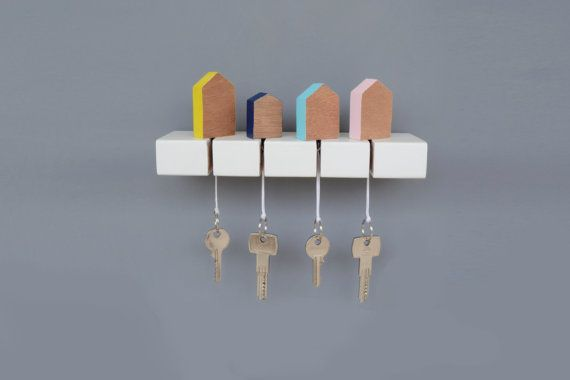 Key Holder Wooden Key Hanger Wall key holder Wall by TwoWoodenDots Would be cute with different car silhouettes, too.