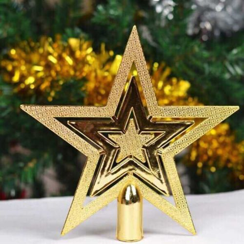 Gold-14cm-Christmas-Tree-Decorations-Supplies-Topper-Star-Christmas-Star-Small