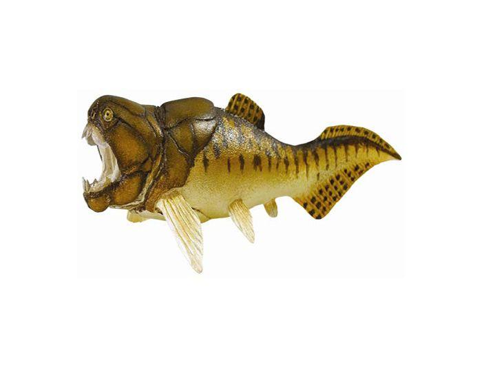 """Dunkleosteus - El dunkleosteus era un pez prehistórico carnívoro, el mayor depredador marino de su época. Su nombre significa """"Huesos de Dunkle"""". Medía hasta 6 metros de largo y pesaba 1 tonelada! Vivió a finales del período devónico, hace 360 millones de años. Alto: 4 cm Largo: 18,5 cm  Edad: a partir de 3 años Marca: Safari Ref. 30160 Precio: 14.00 € IVA incluido"""