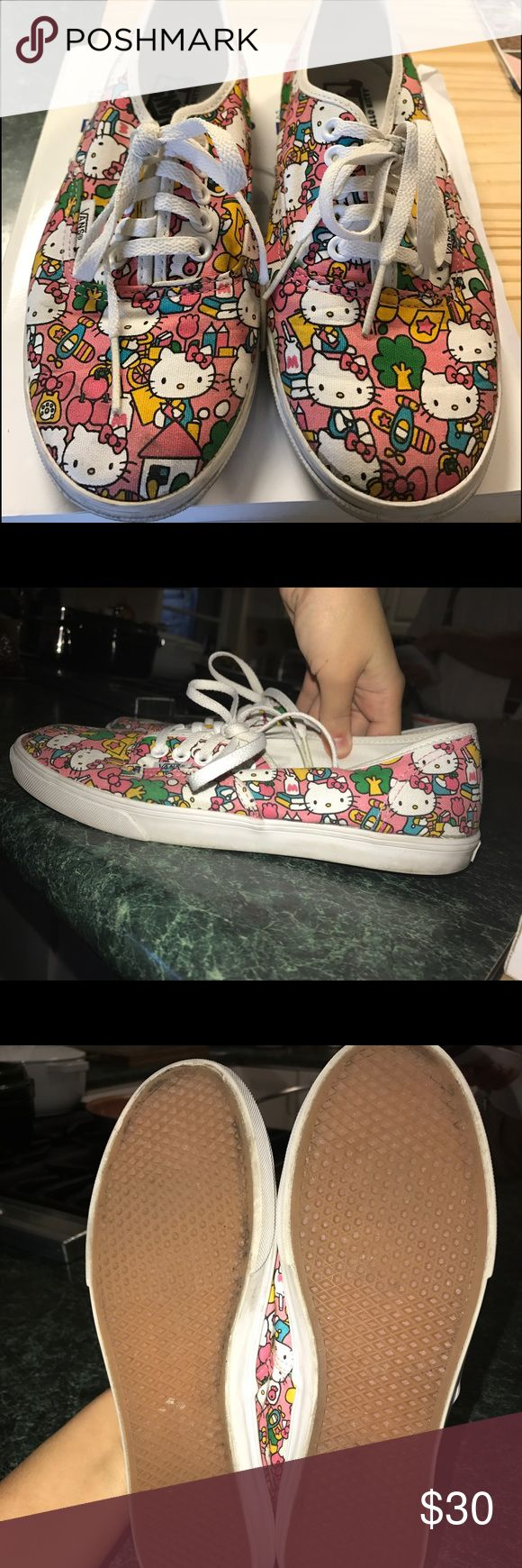 Hello kitty pink vans Hi there! Gently used hello kitty vans. I love these but find myself hardly using them. Size 8. Super super cute. Just a little sign of wear but overall in very good condition ❤ Vans Shoes Sneakers