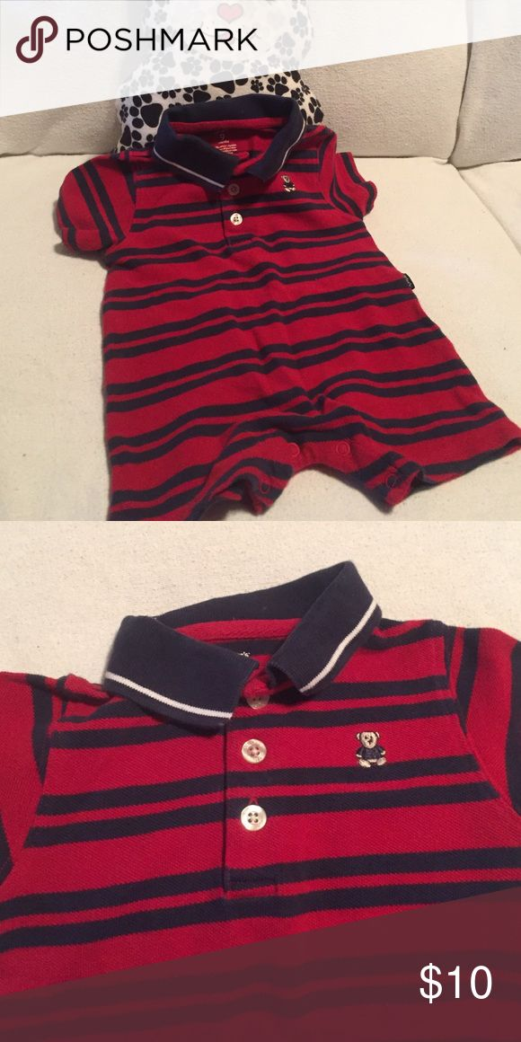 """Carter's short suit in EUC. JUST REDUCED! """"Polo look"""" and just too cute! Carter's One Pieces Bodysuits"""
