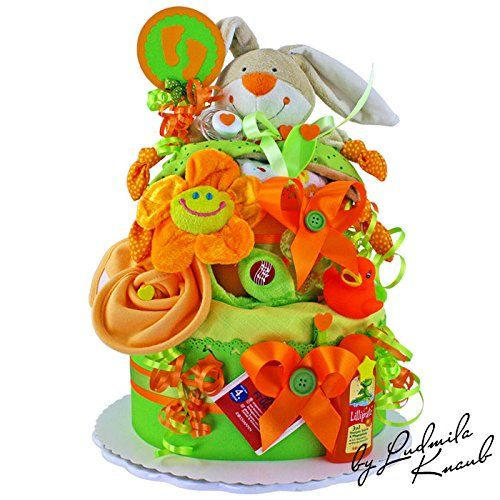 2 Tier Newborn Nappy Cake Made from Pampers nappies, baby toys, cuddle cloth, burp cloth, comforter, flannels, bib with velcro fastener, pacifier, baby spoon, baby teether, baby care products (wet wipes, soft cream, 3-in-1shampoo, shower gel and conditioner) & decor item
