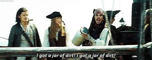 "Captain Jack Sparrow, ""I've got a jar of dirt! I've got a jar of dirt!"" (Depp improvised this scene) #johnnydepp #johnnydeppgif #captainjacksparrow #captainjacksparrowgif"