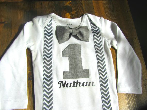 Boys First Birthday Outfit Bow tie Suspenders by SewLovedBaby
