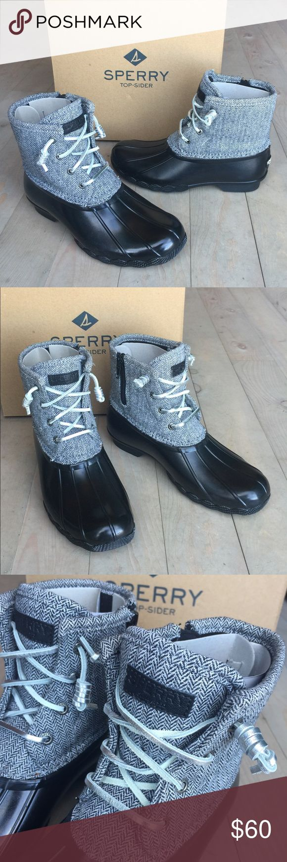 Sperry Top-Sider Saltwater Duck Boots Herringbone Brand New with Box!  Kids Sperry Top-Sider Saltwater Duck Boots Size 4 Girls/EUR 36 (will fit a 6 women's too) Color is Black and silver herringbone with silver laces Black rubber sole Side zipper for easy on and off This season -- current style! Sperry Top-Sider Shoes Winter & Rain Boots
