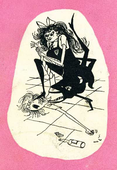 one of my favorite illos EVER, from the back of the terror of st trinians... Ronald Searle